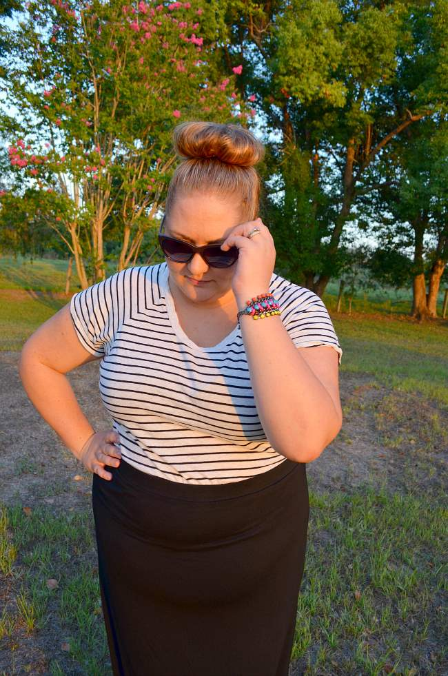 plus size casual outfit with stripes 003