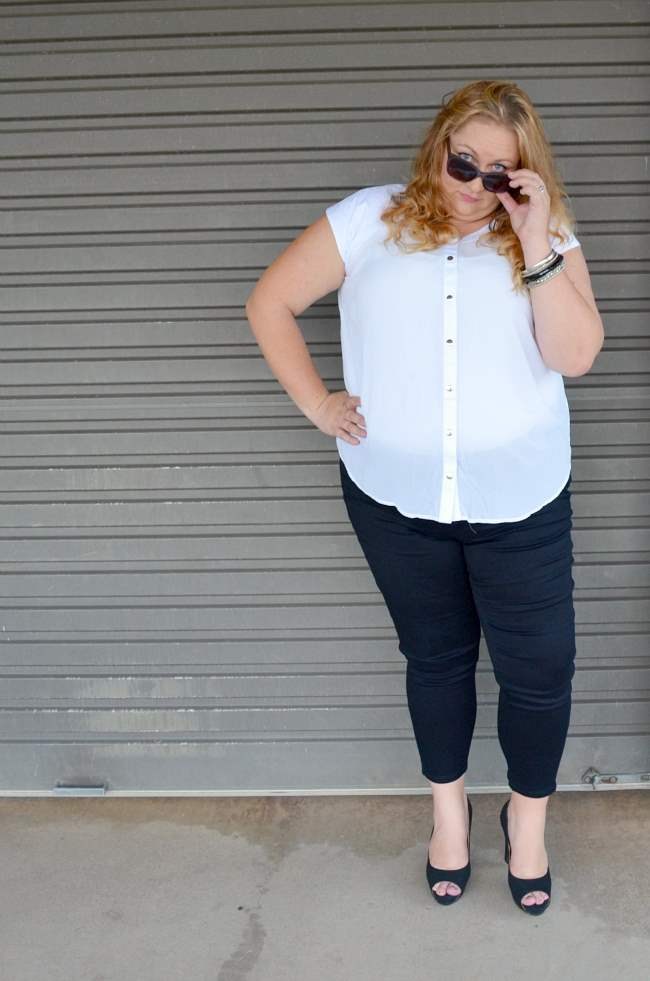 plus size aussie curves black and white outfit 006