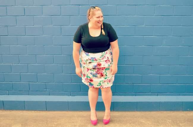 plus size eShakti peplum skirt outfit 005