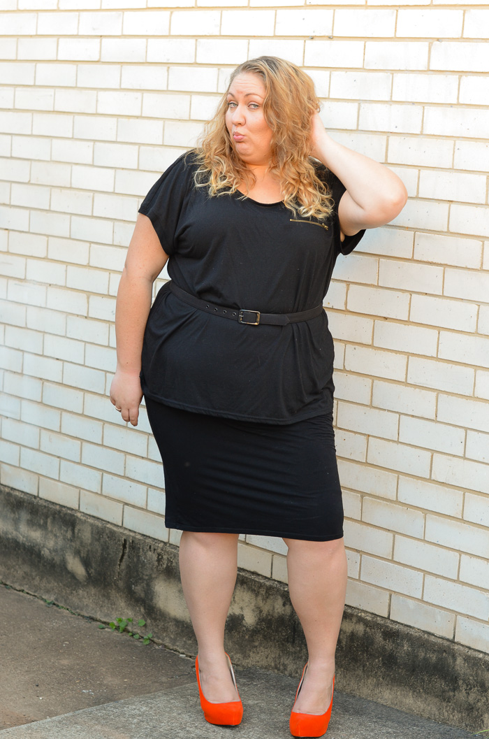 plus size monochrome outfit with heels-8