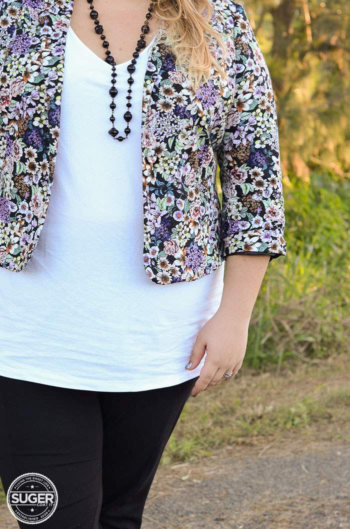 plus size casual outfit floral blazer-8