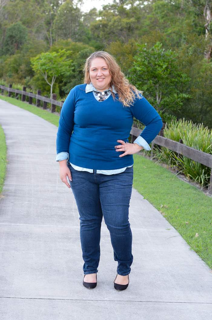 plus size jeans chambray layers outfit-3