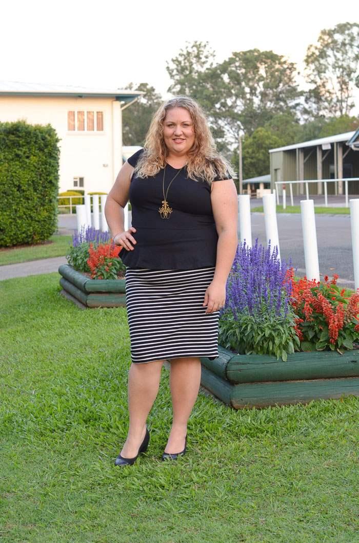 plus size stripe pencil skirt peplum outfit-4