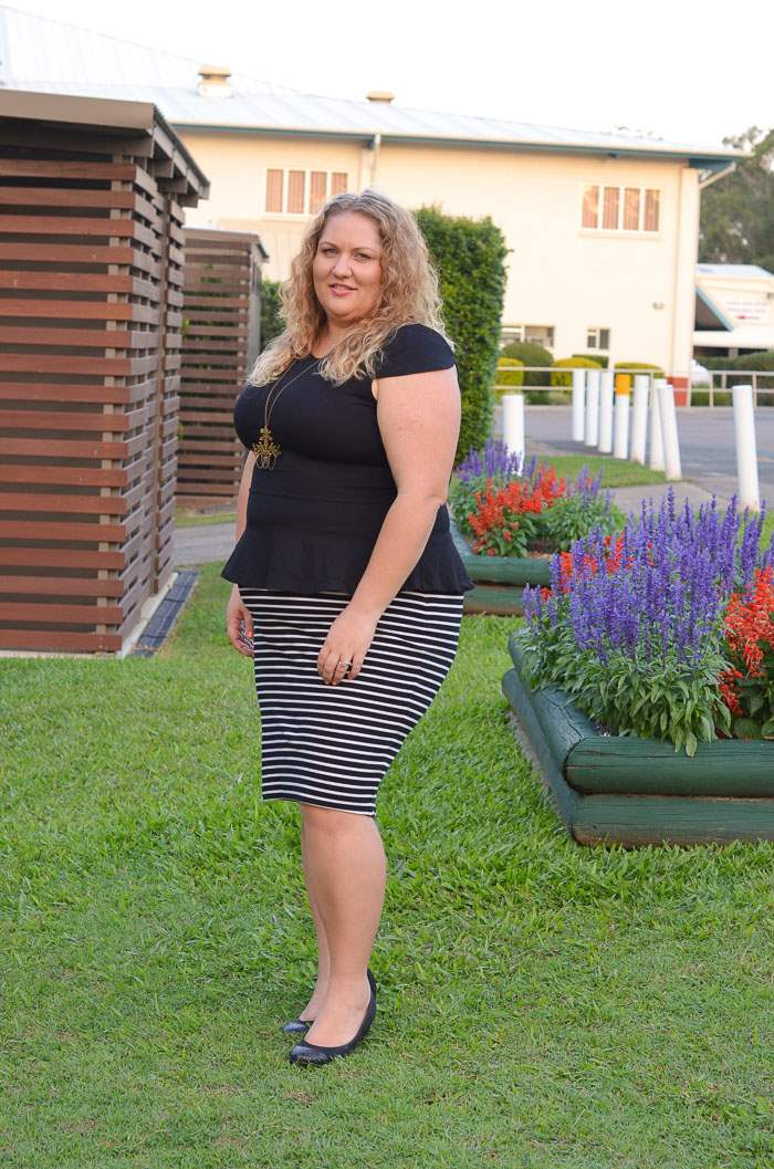 plus size stripe pencil skirt peplum outfit