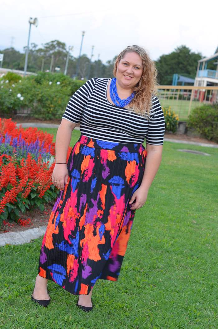 plus size stripes bright maxi skirt-8