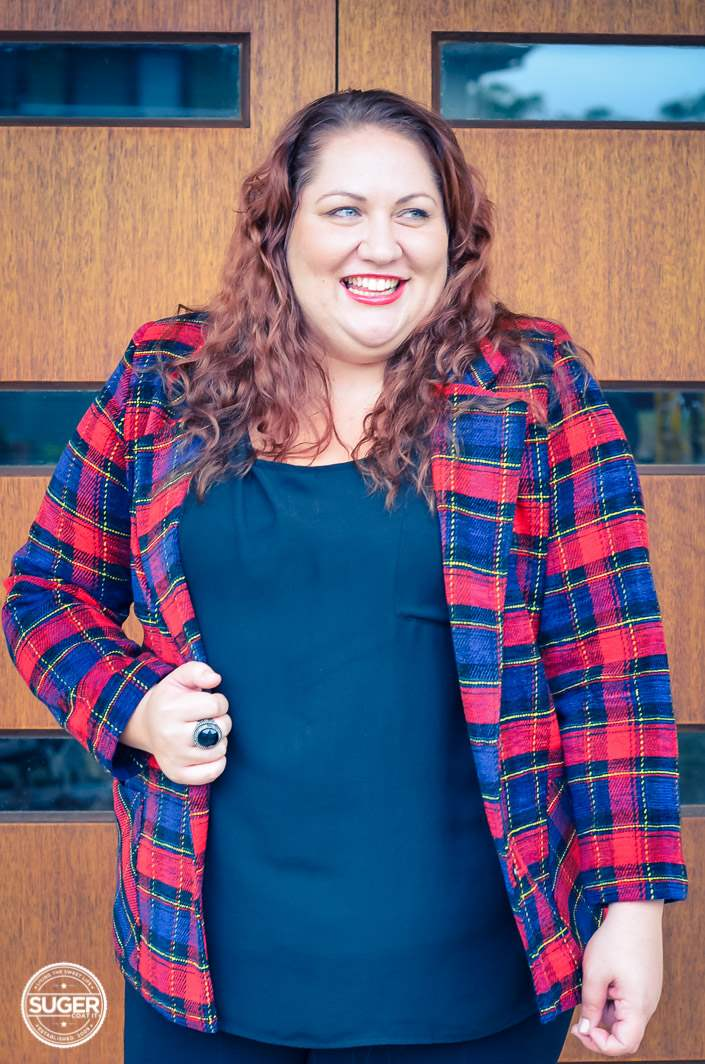 plus size plaid jacket outfit with red heels-5