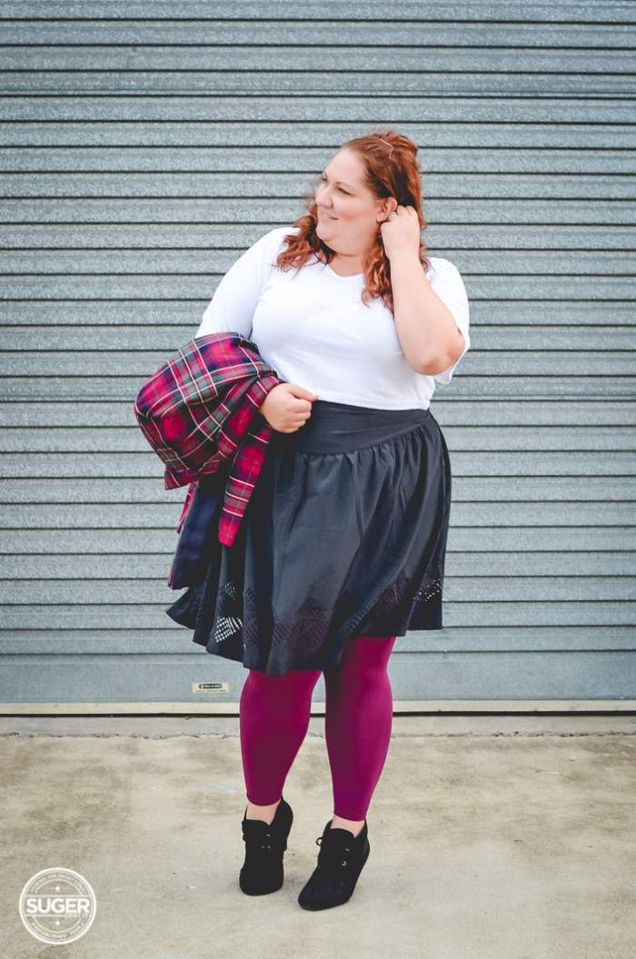 plus size outfit plaid jacket crop top + ful skirt-7