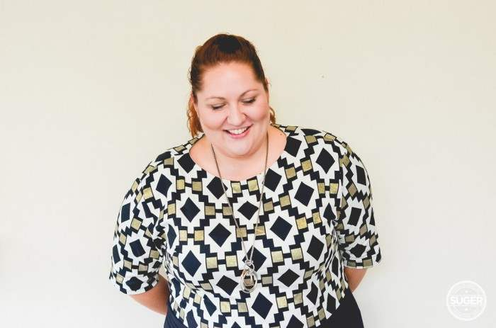 plus size work outfit geo print-7