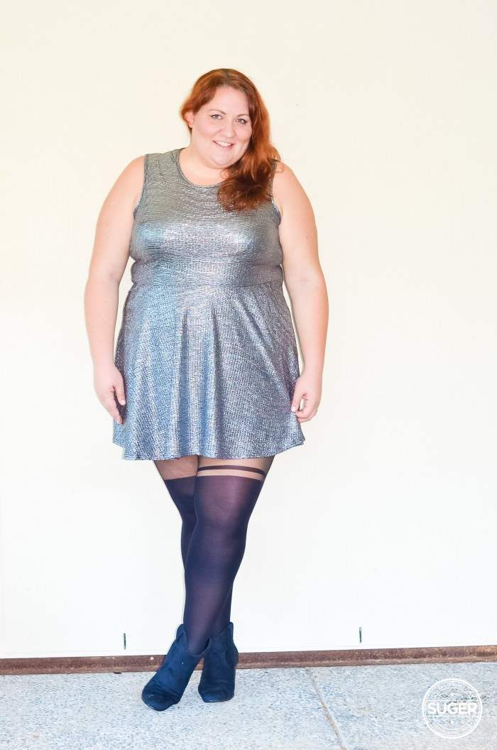 silver skater dress plus size outfit-7