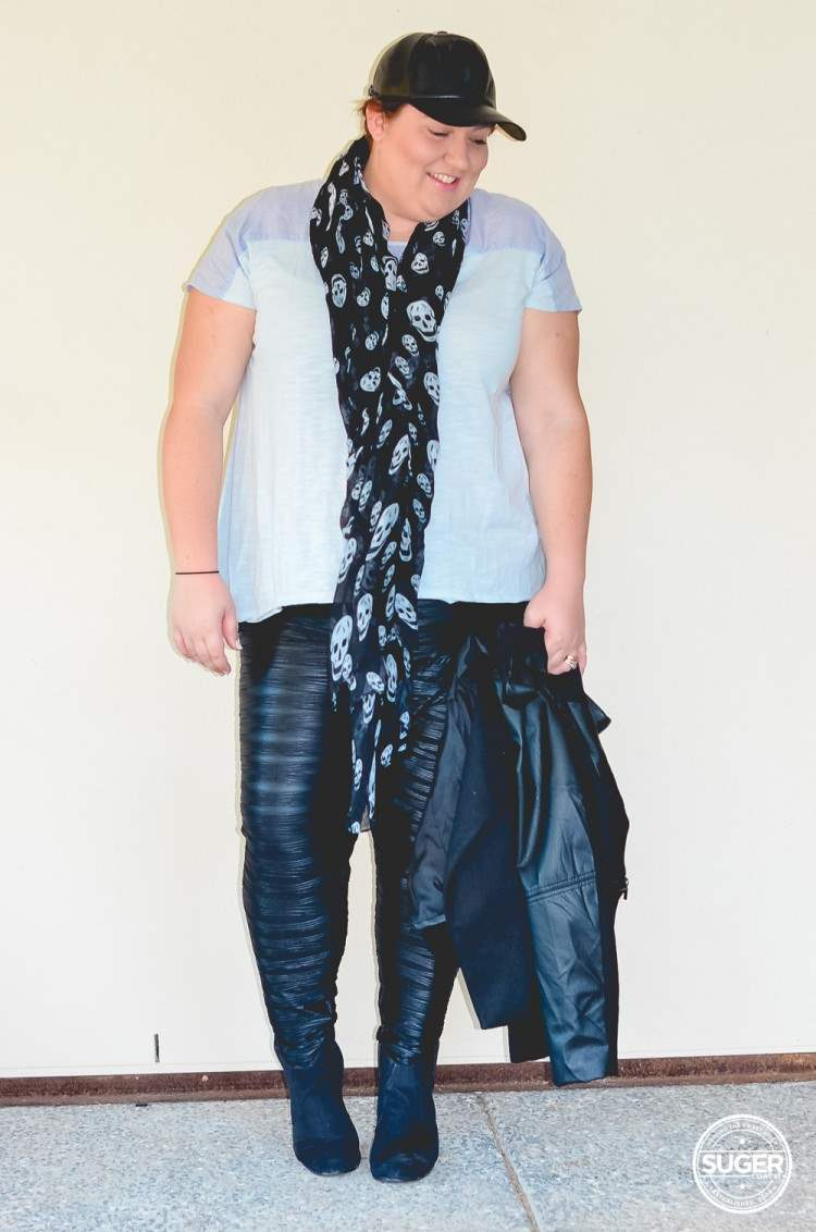 plus size casual leather outfit for winter-5