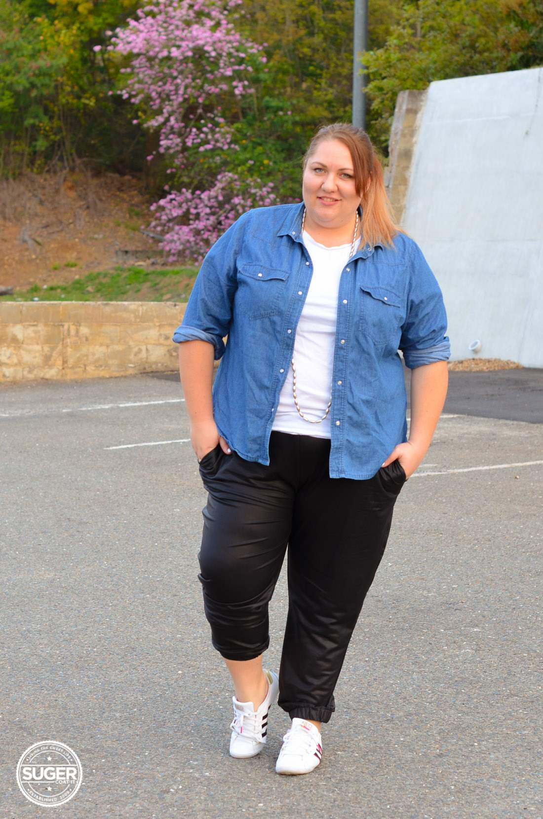 casual chambray + leather joggers plus size outfit-10