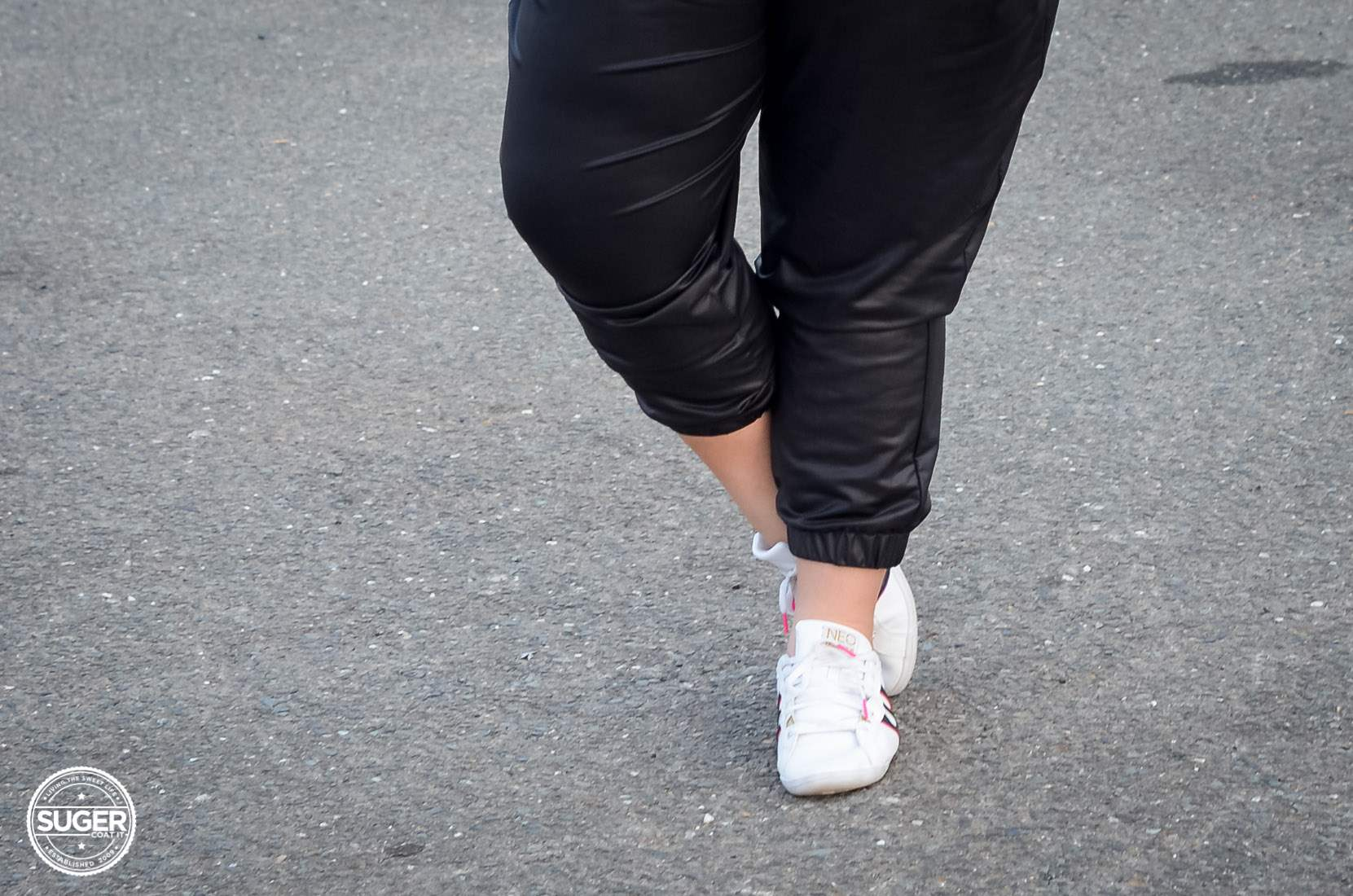 casual chambray + leather joggers plus size outfit-13