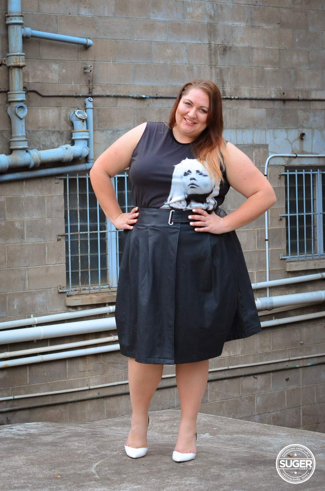 plus size blondie tee + leather skirt outfit asos curve-11