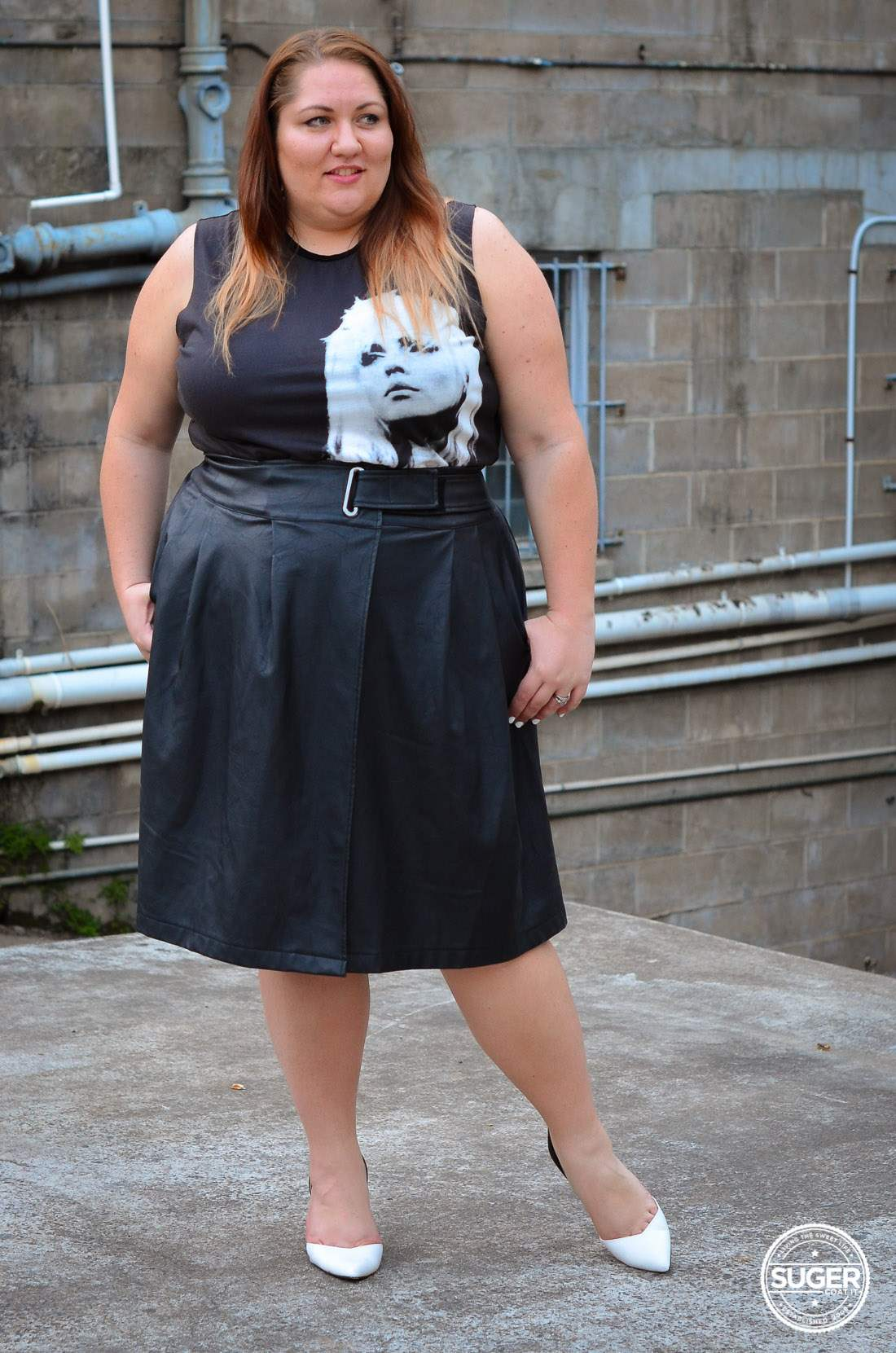 plus size blondie tee + leather skirt outfit asos curve-13