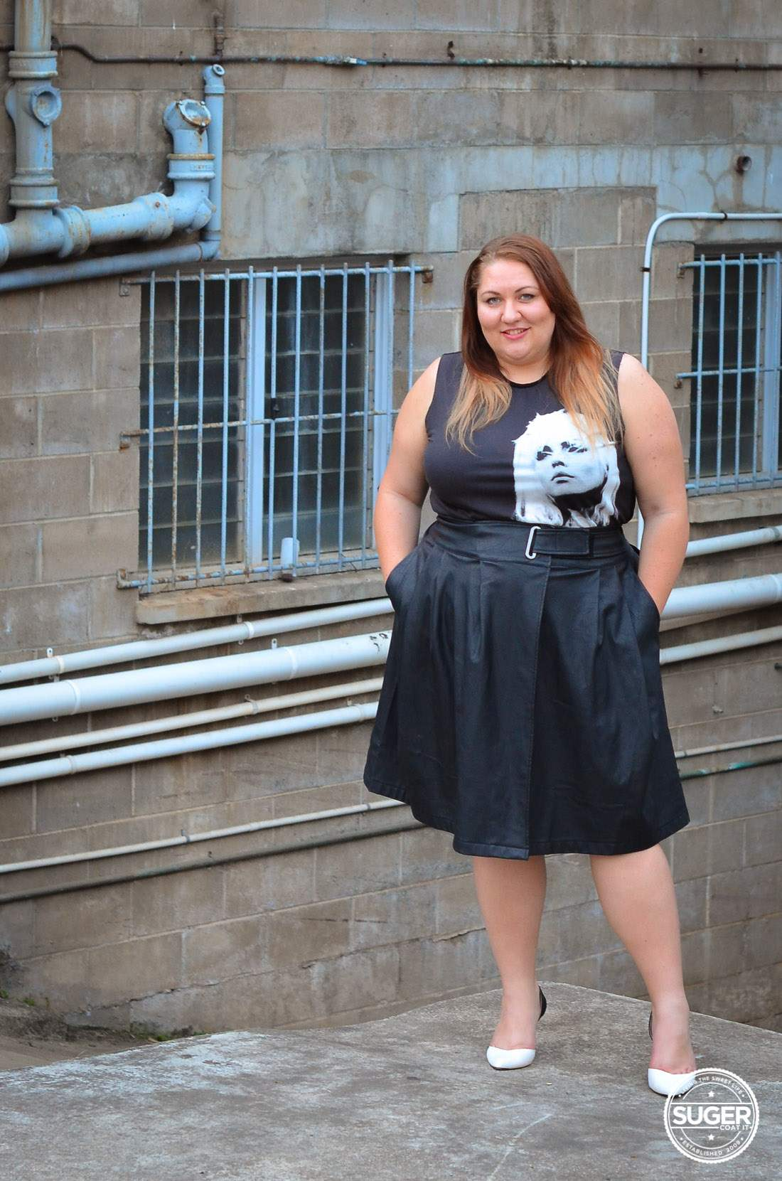 plus size blondie tee + leather skirt outfit asos curve-14