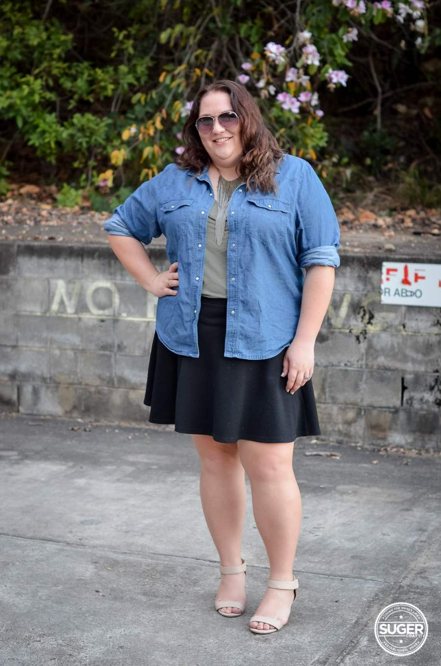 casual chambray + skater skirt outfit 17 sundays-1