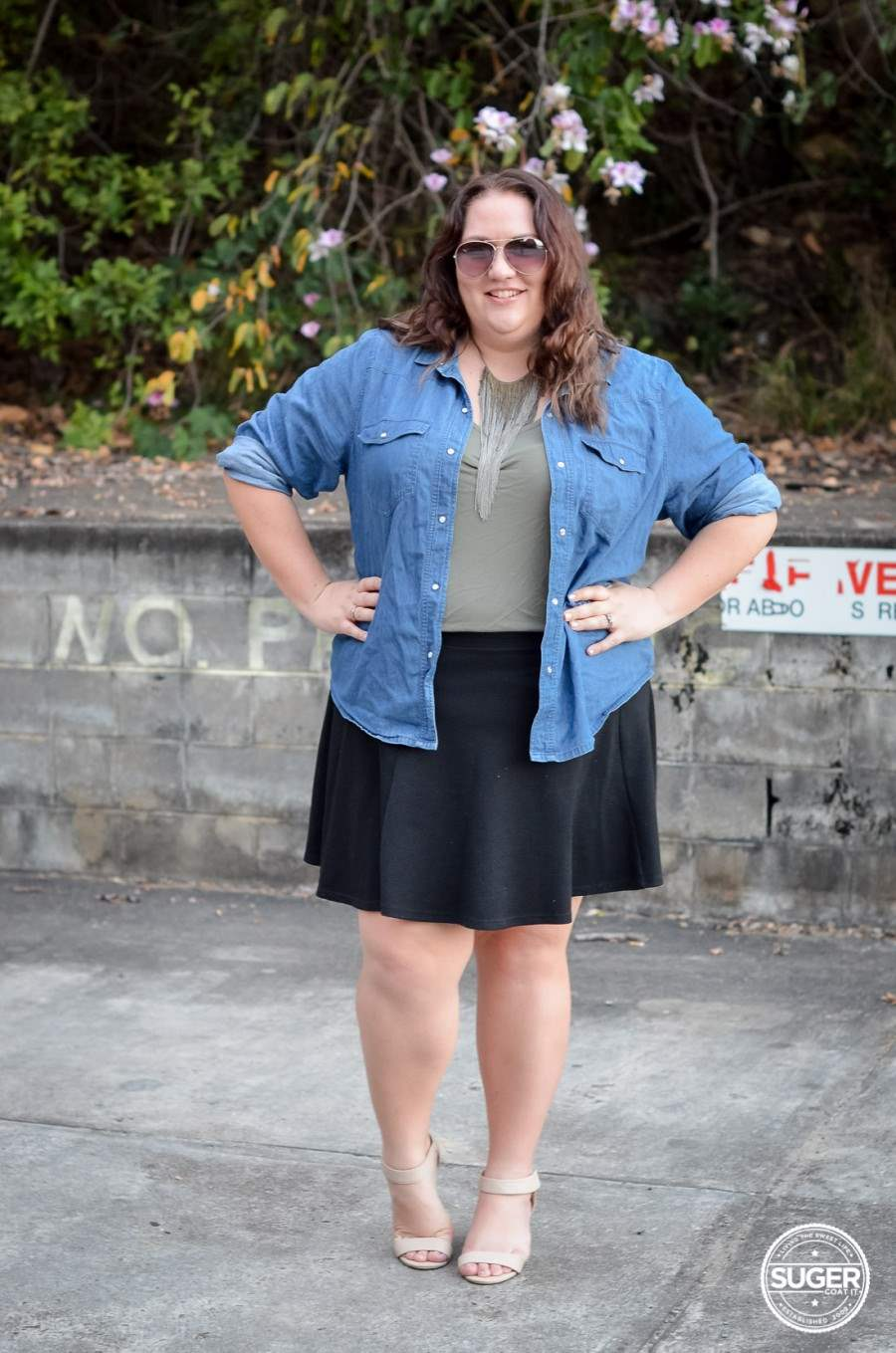 casual chambray + skater skirt outfit 17 sundays-2