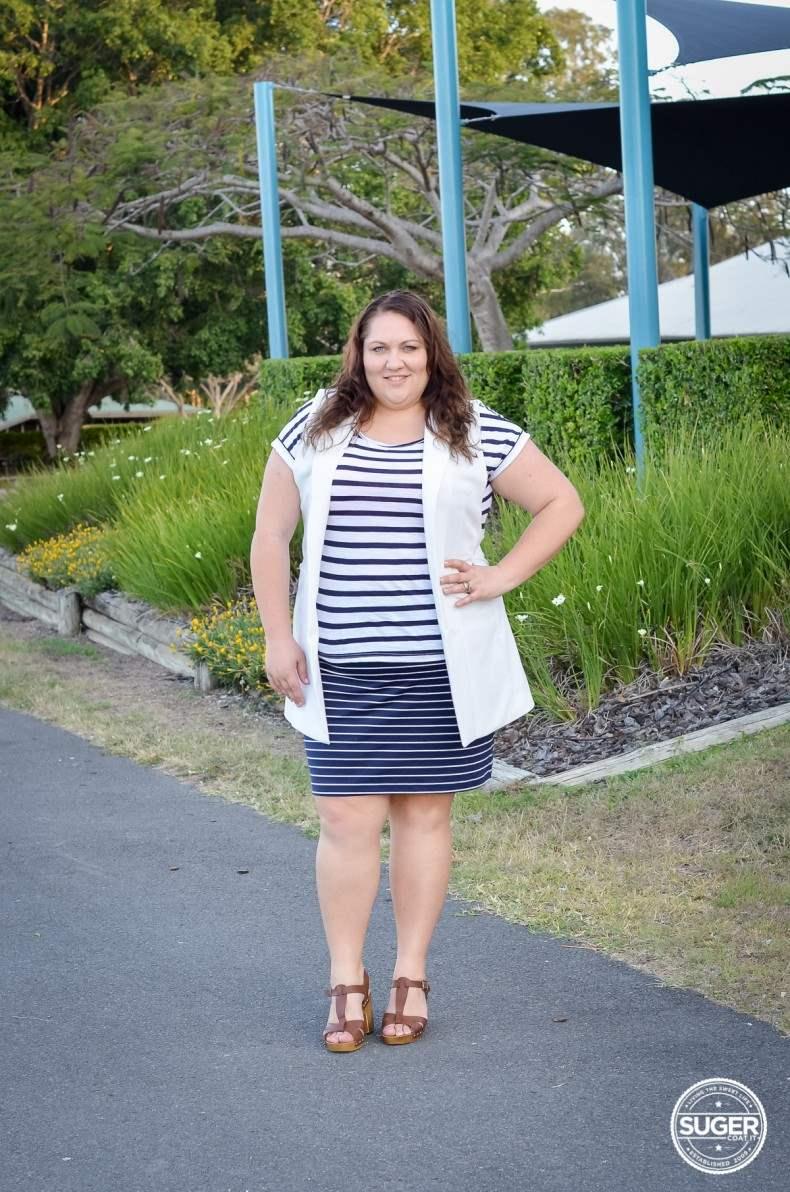 plus size stripe casual oufit long vest summer spring-1
