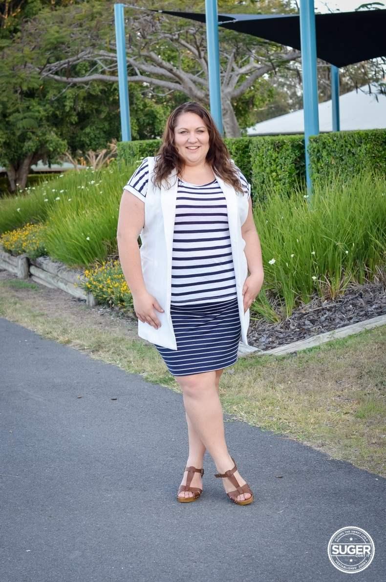 plus size stripe casual oufit long vest summer spring-4