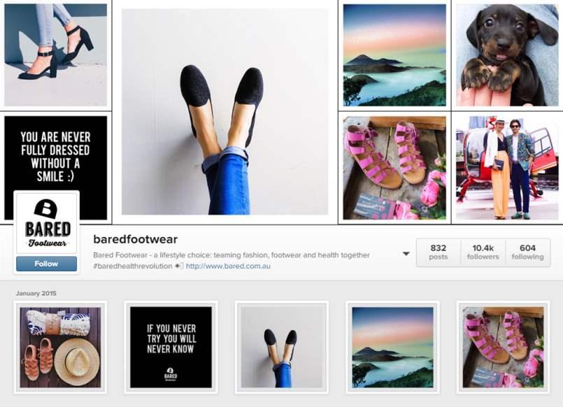 Bared Footwear Instagram Account