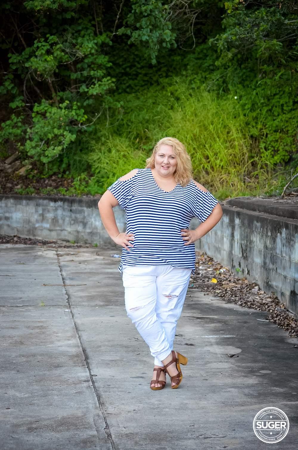17 sundays plus size casual outfit denim joggers stripe top-6