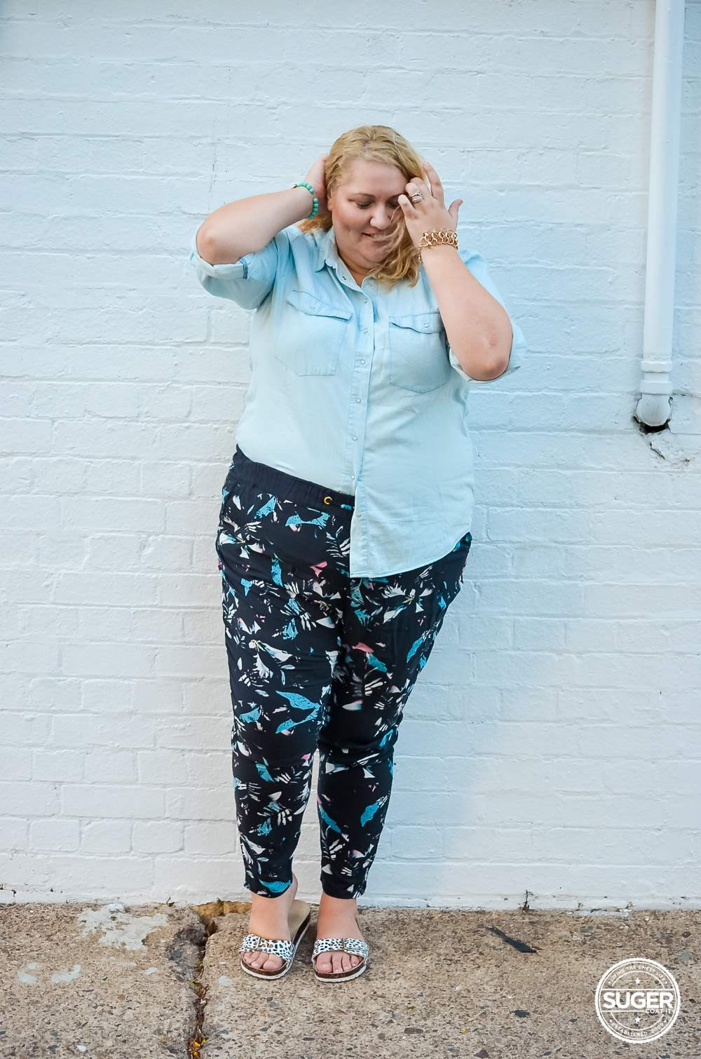 17 sundays plus size denim shirt printed pants casual outfit-3
