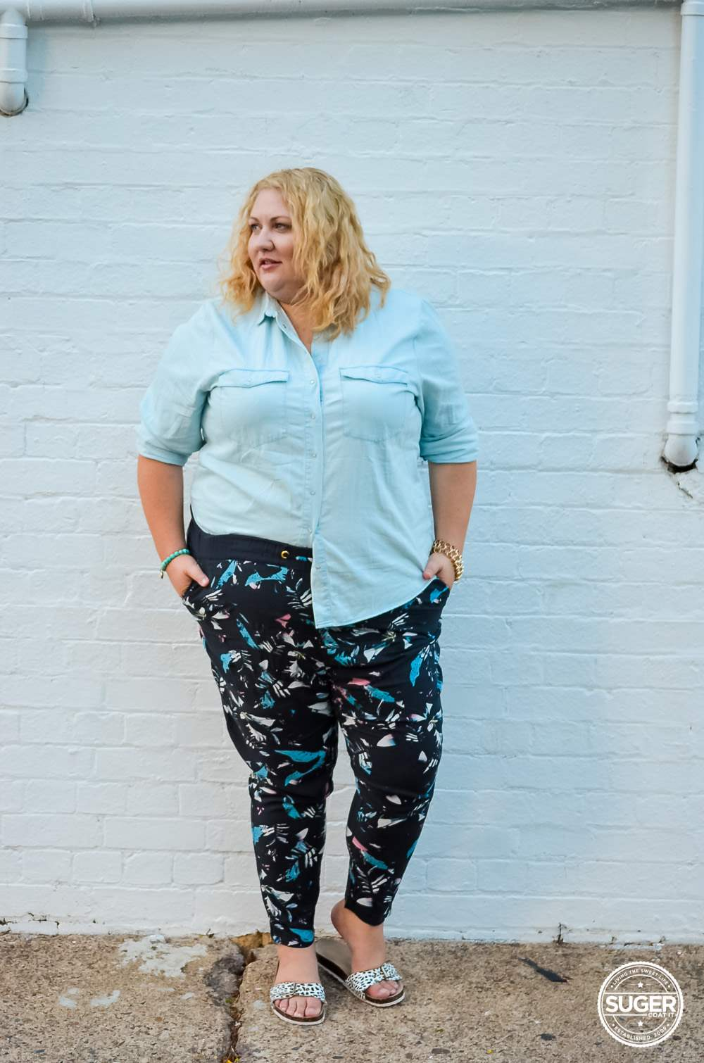 17 sundays plus size denim shirt printed pants casual outfit-4