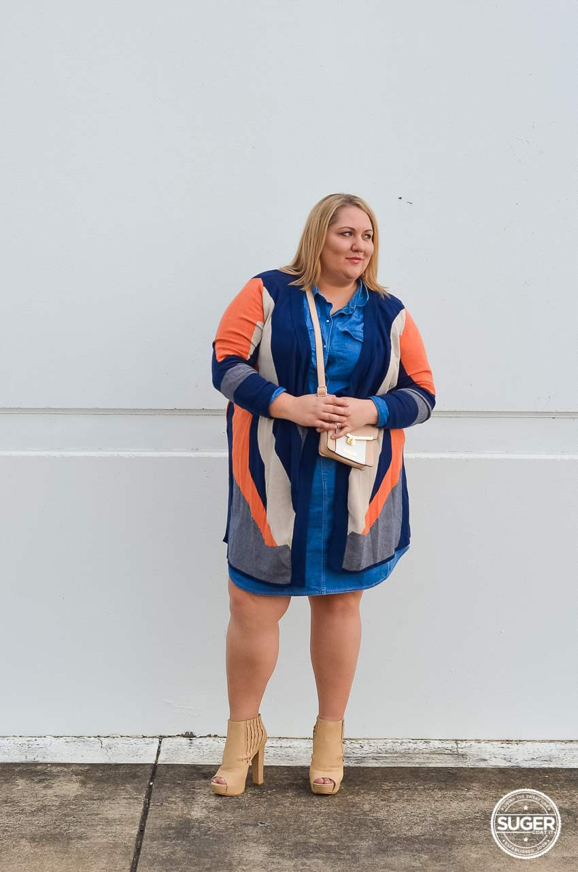 plus size double denim outfit ankle boots knit jacket-2
