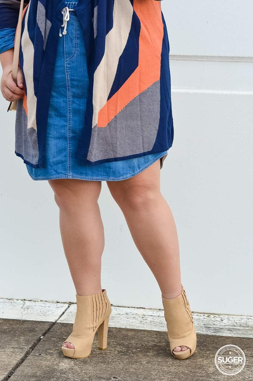 plus size double denim outfit ankle boots knit jacket-5