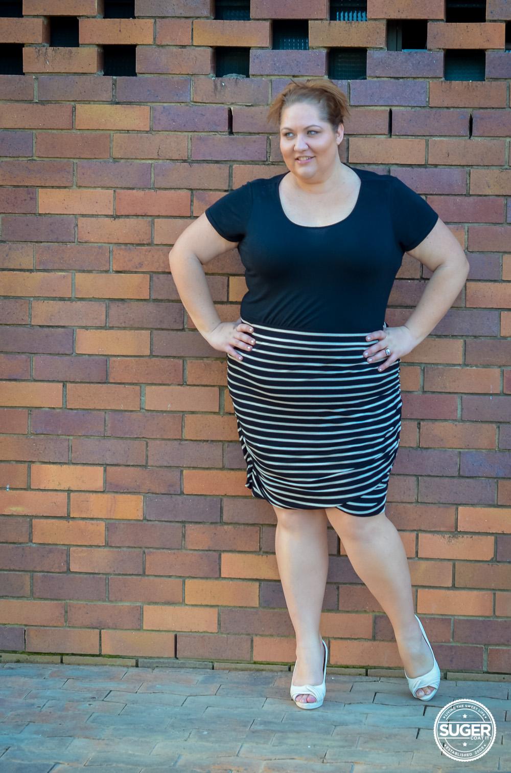 plus size work style stripe skirt 17 sundays-3