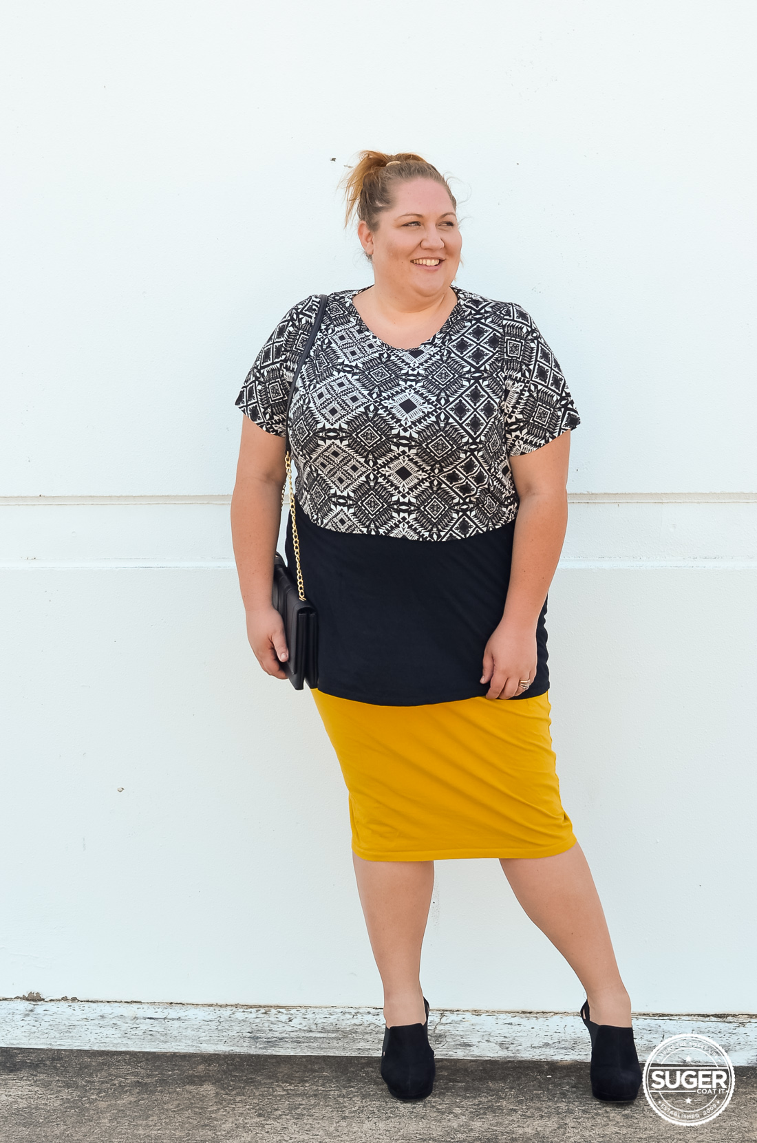 layered plus size crop pencil skirt outfit-4