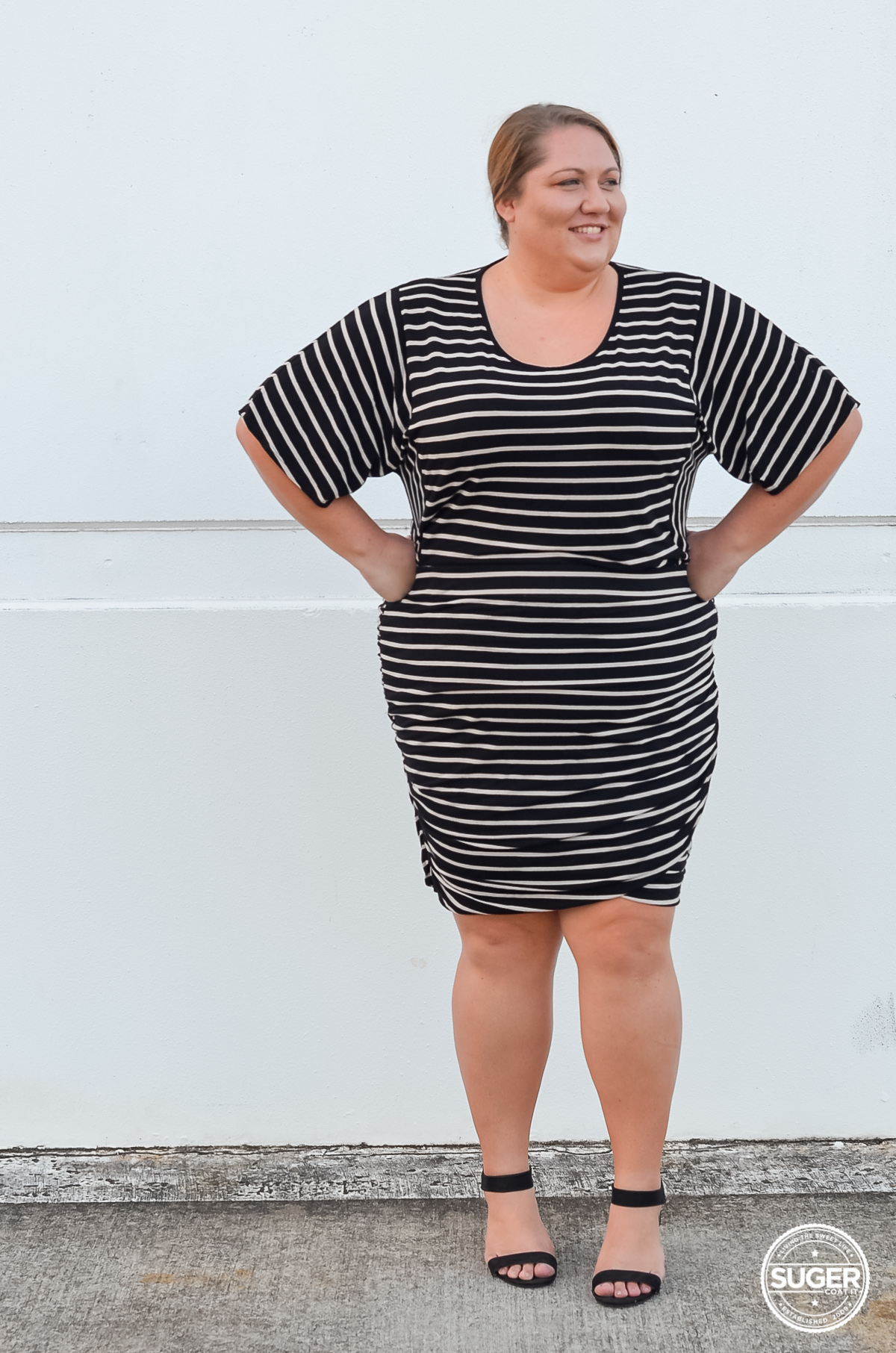 all stripe plus size work style outfit