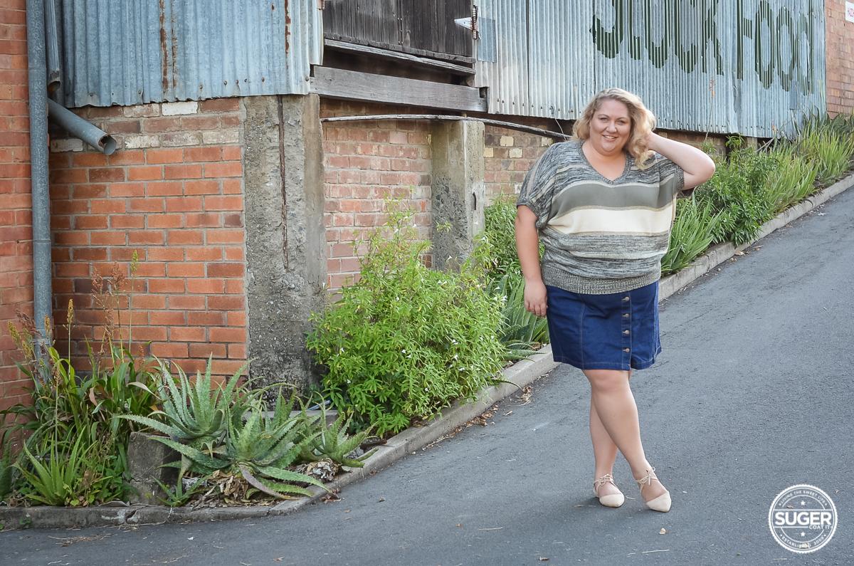 plus size blogger casual outfit 17 sundays knit asos curve denim skirt