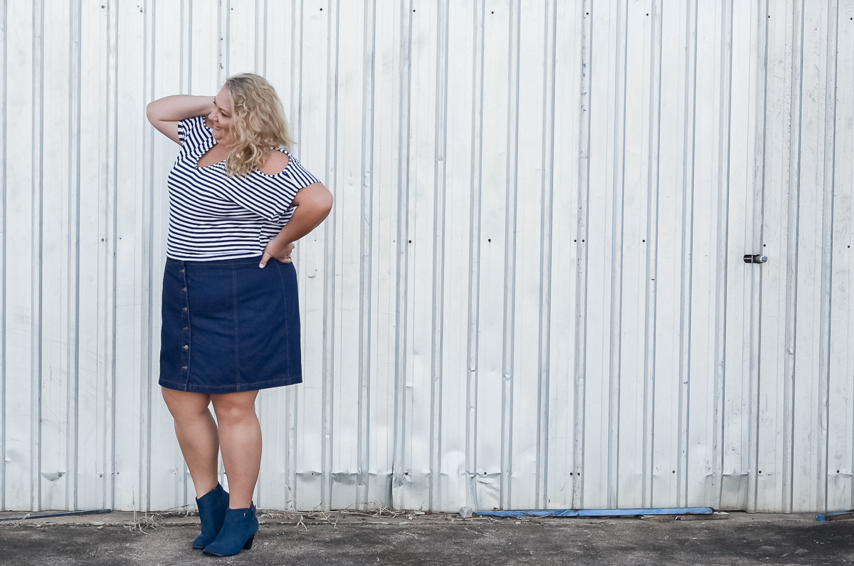 plus size blogger button up asos curve skirt stripe top