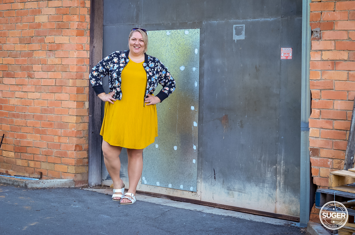 plus size casual outfit asos curve swing dress floral bomber-5
