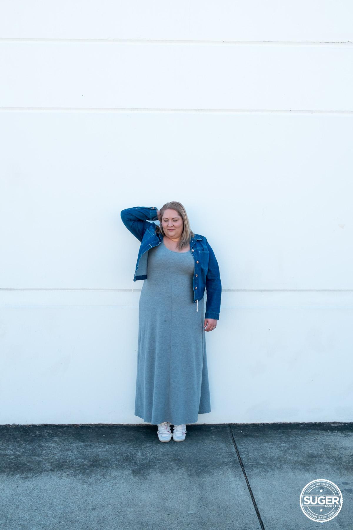 plus size blogger asos curve grey maxi dress-3