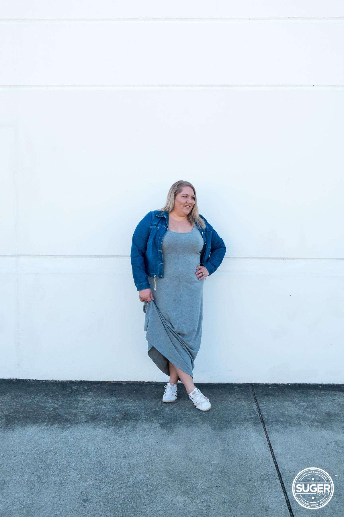 plus size blogger asos curve grey maxi dress-4