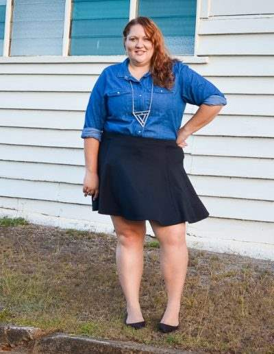 chambray shirt + skater skirt casual outfit-4