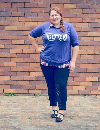 geek jumper + moto pants + plaid + plus size-2