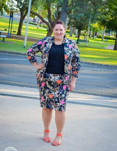 plus size winter floral suit for work-1