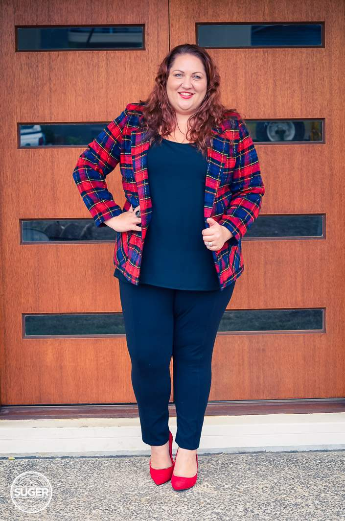 plus size plaid jacket outfit with red heels-2