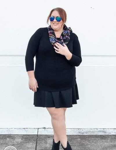 all black + scarf plus size outfit + anke boots-2
