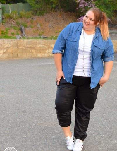 casual chambray + leather joggers plus size outfit-12