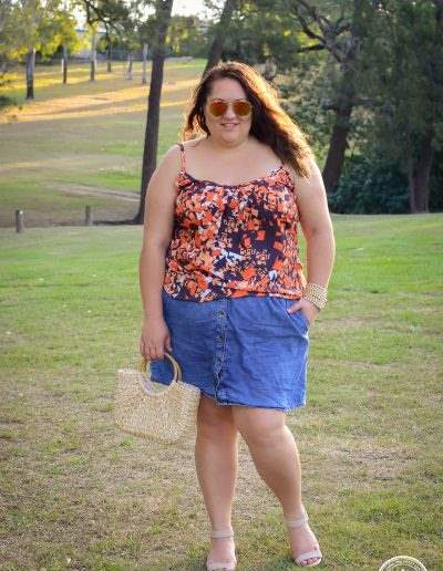 city chic singlet denim skirt outfit plus size-1