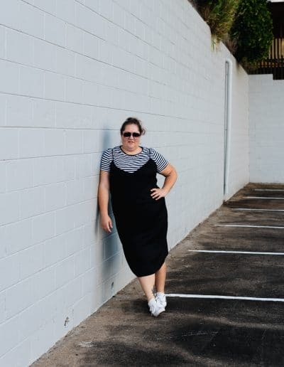Plus Size Dress over T-Shirt Outfit Idea-7